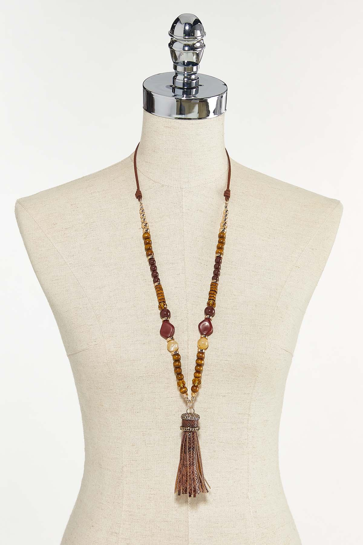Faux Leather Tassel Necklace (Item #44736624)