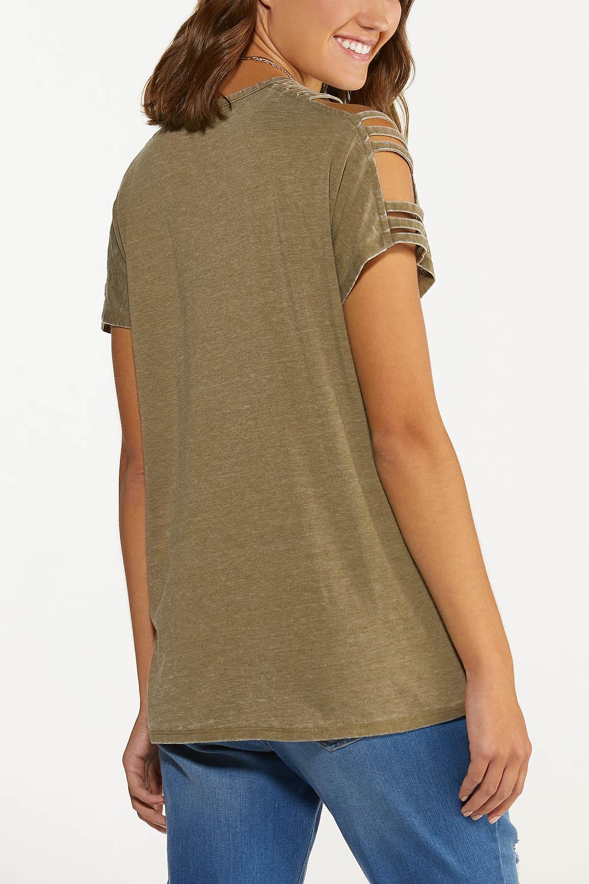 Olive Cutout Cold Shoulder Top (Item #44739263)