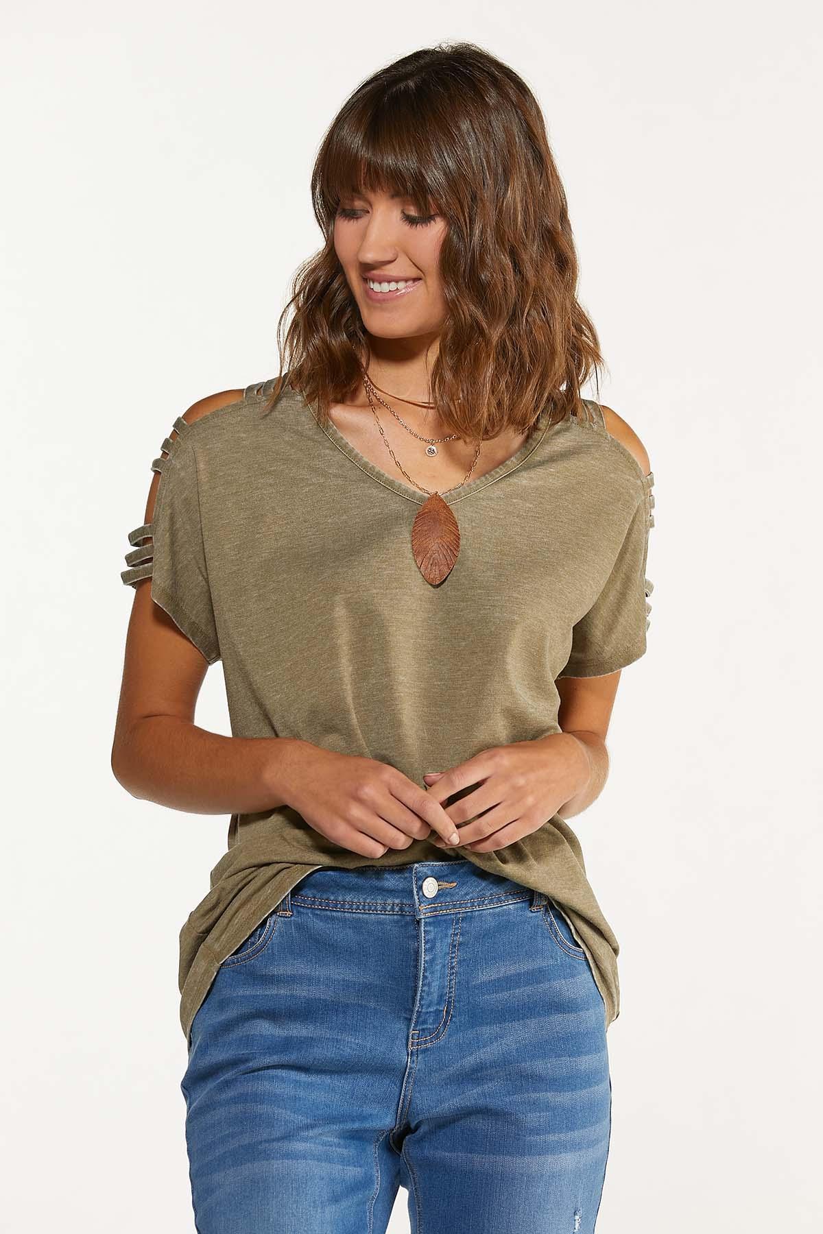 Plus Size Olive Cutout Cold Shoulder Top (Item #44739273)