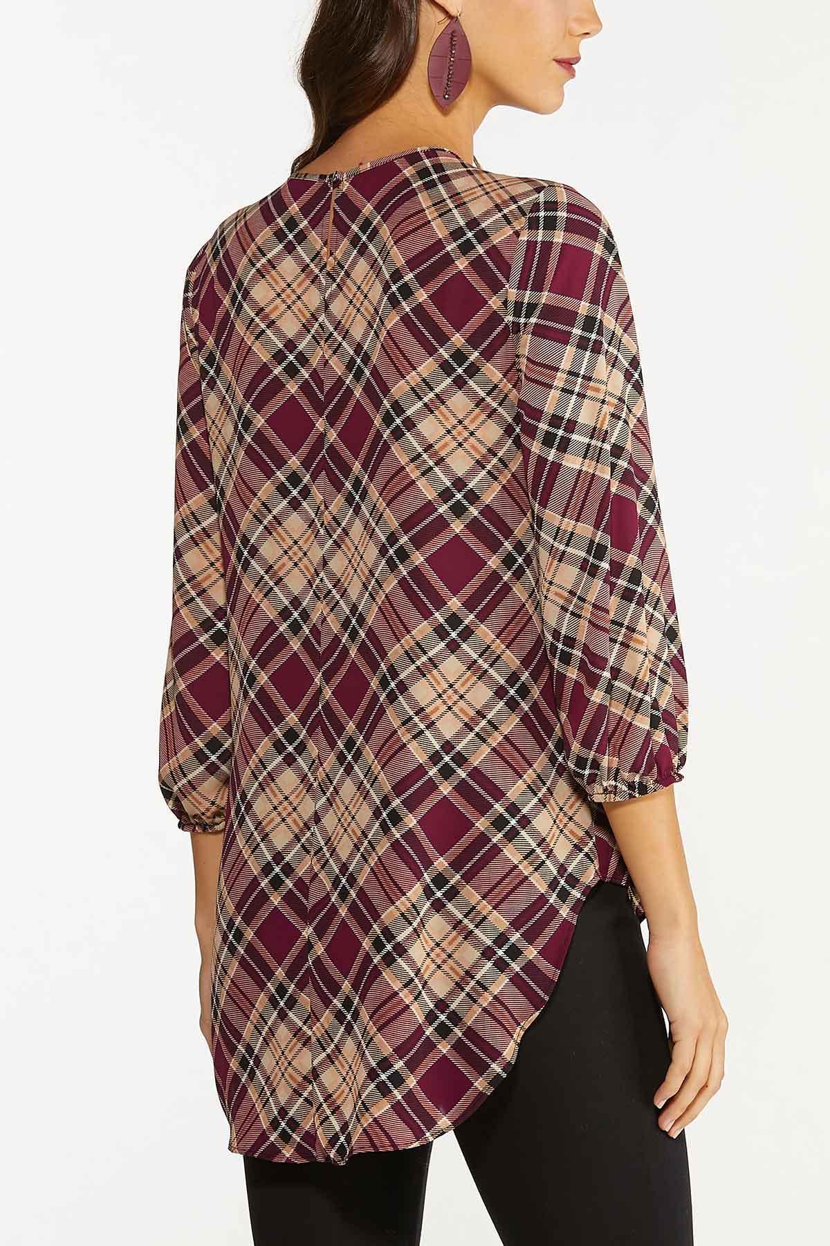 Plus Size Cranberry Plaid Shirt (Item #44739319)