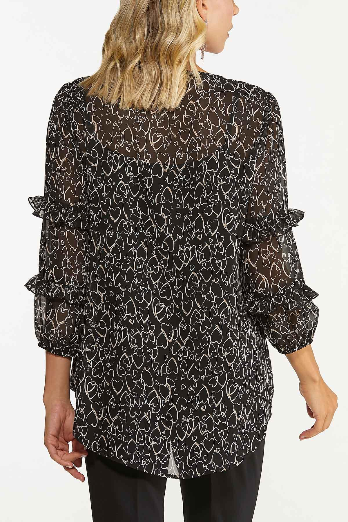 Plus Size Ruffled Scattered Hearts Top (Item #44739350)