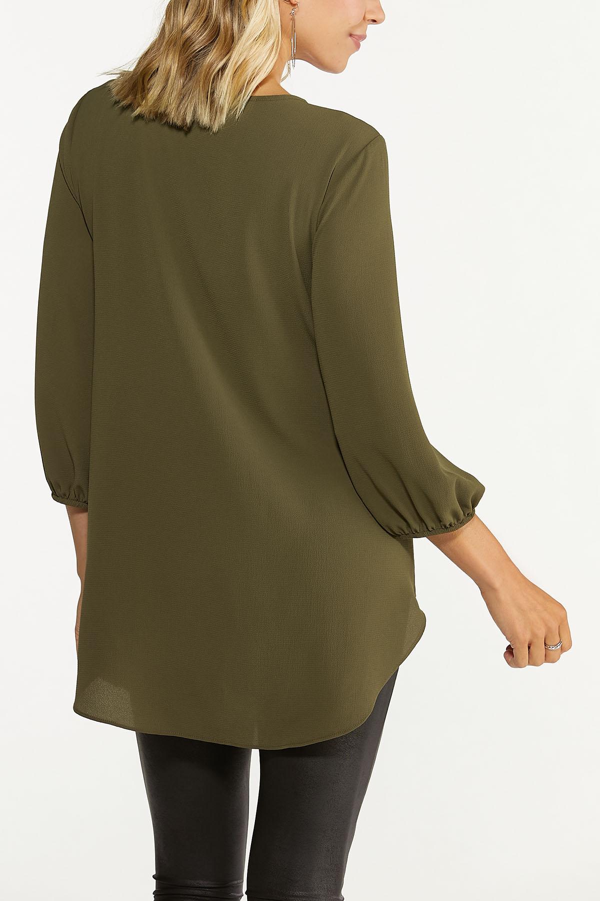 Plus Size Olive Crepe Tunic (Item #44739380)