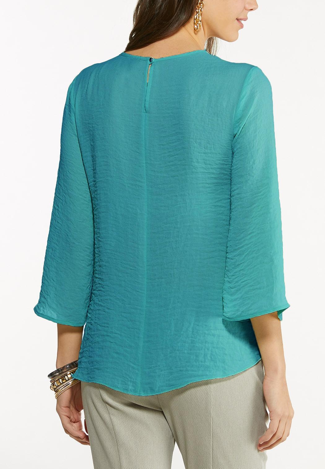 Plus Size Cutout Neck Blouse (Item #44739419)