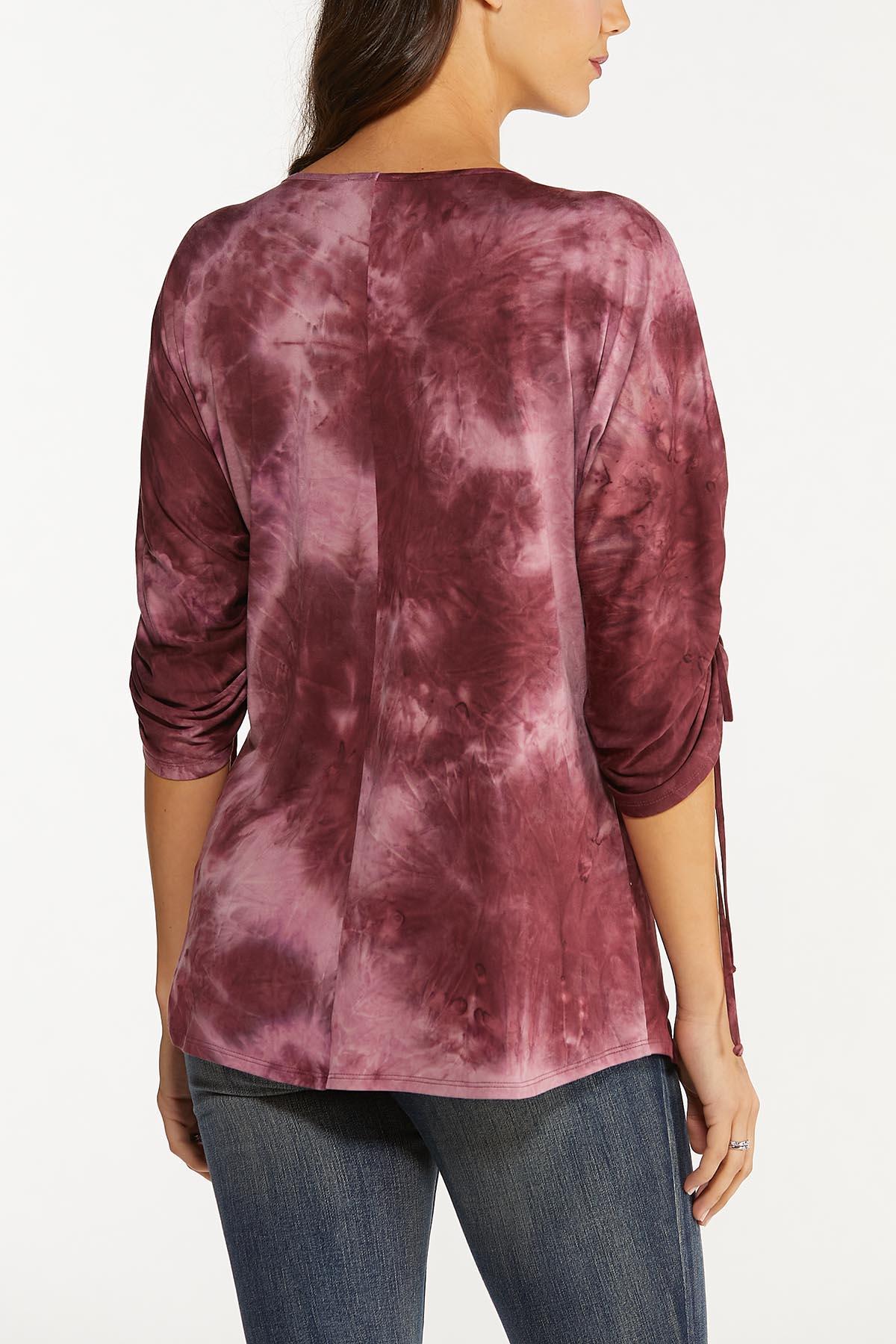 Plus Size Wine Tie Dye Top (Item #44739452)
