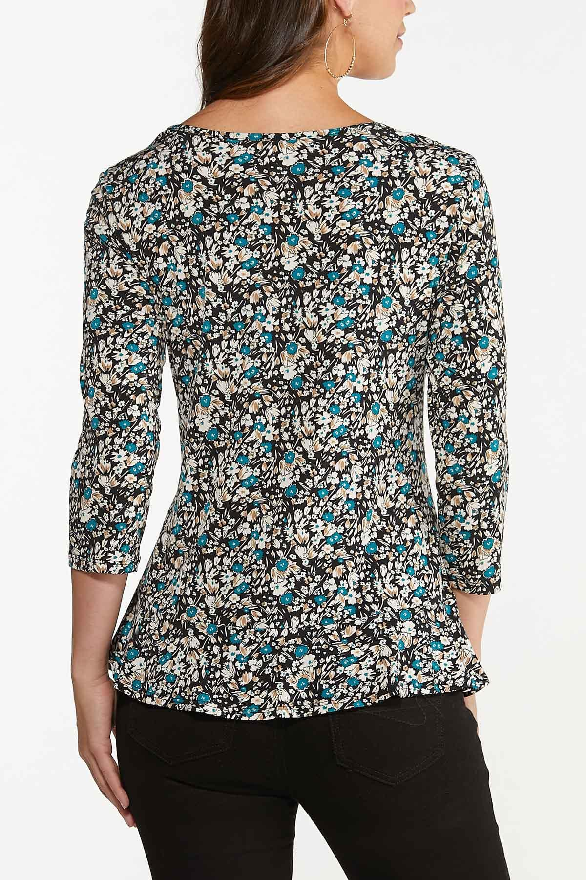Plus Size Floral Ruched Front Top (Item #44739488)