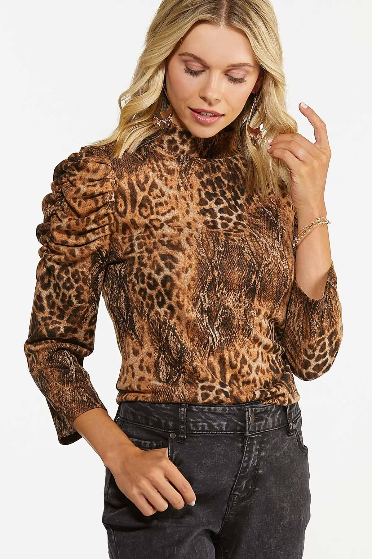 Leopard Puff Sleeve Top (Item #44739527)