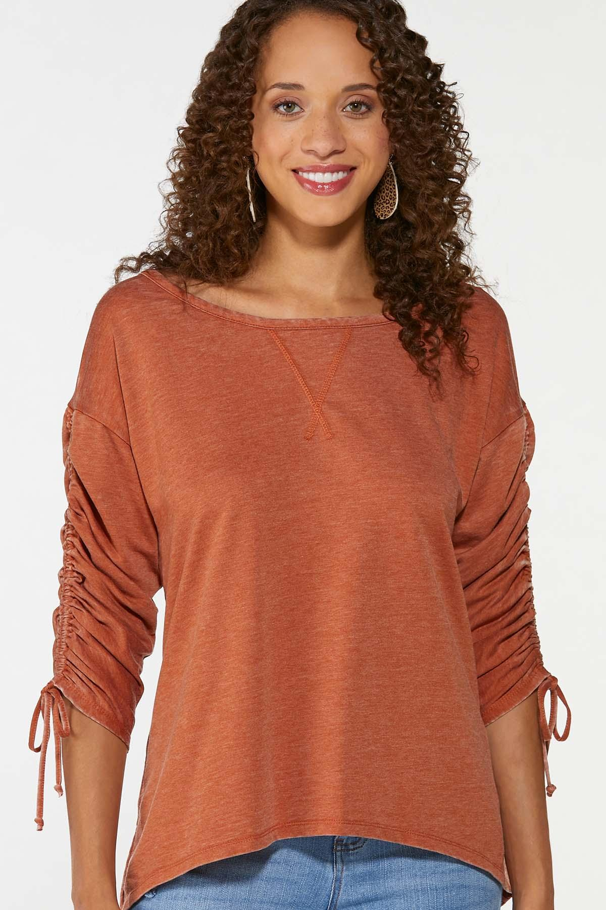 Plus Size Ruched Sleeve Top (Item #44740805)