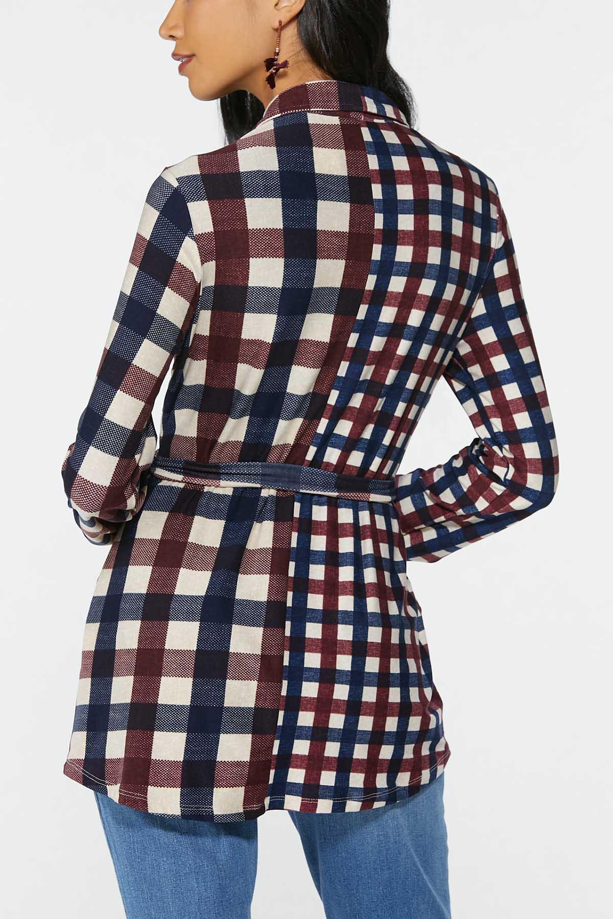 Plus Size Belted Plaid Tunic (Item #44740899)
