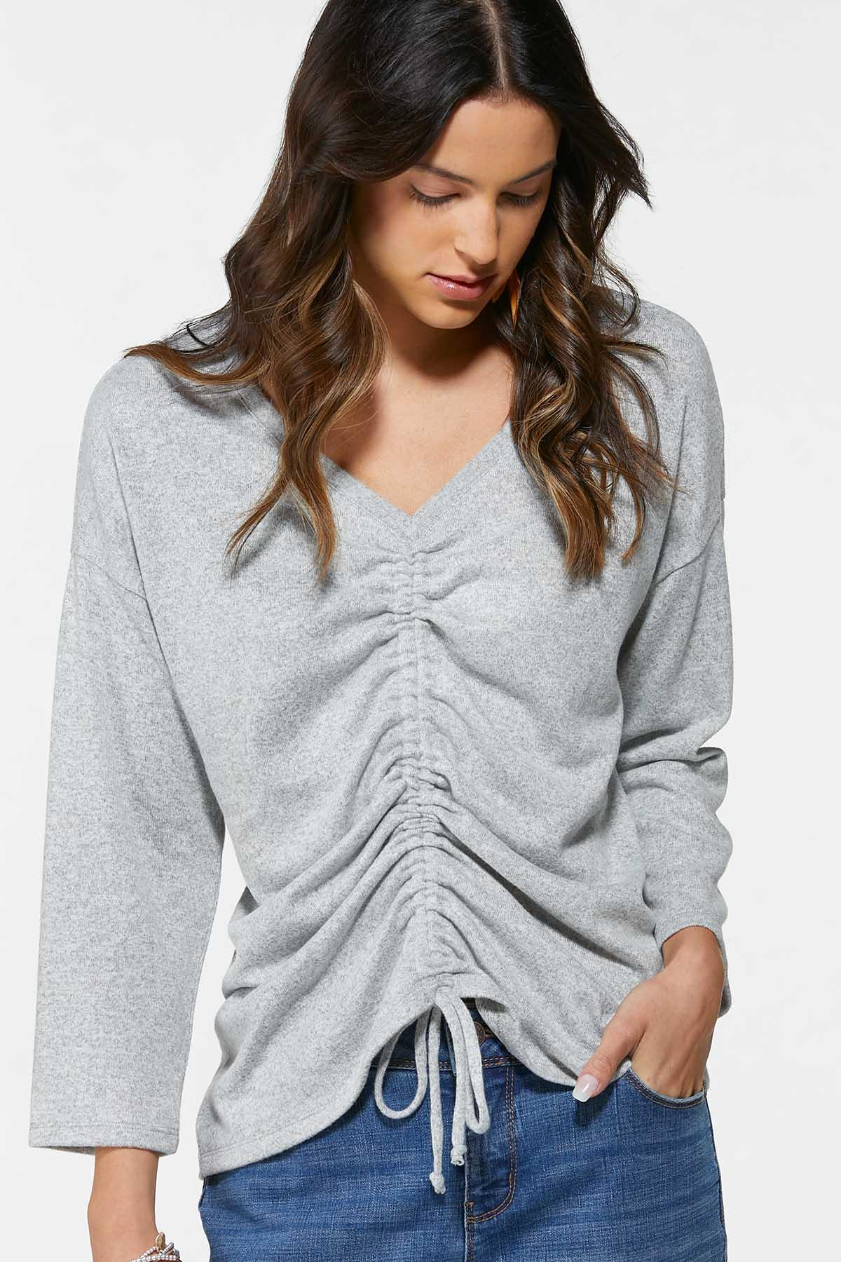 Plus Size Tie Ruched Front Top (Item #44740917)