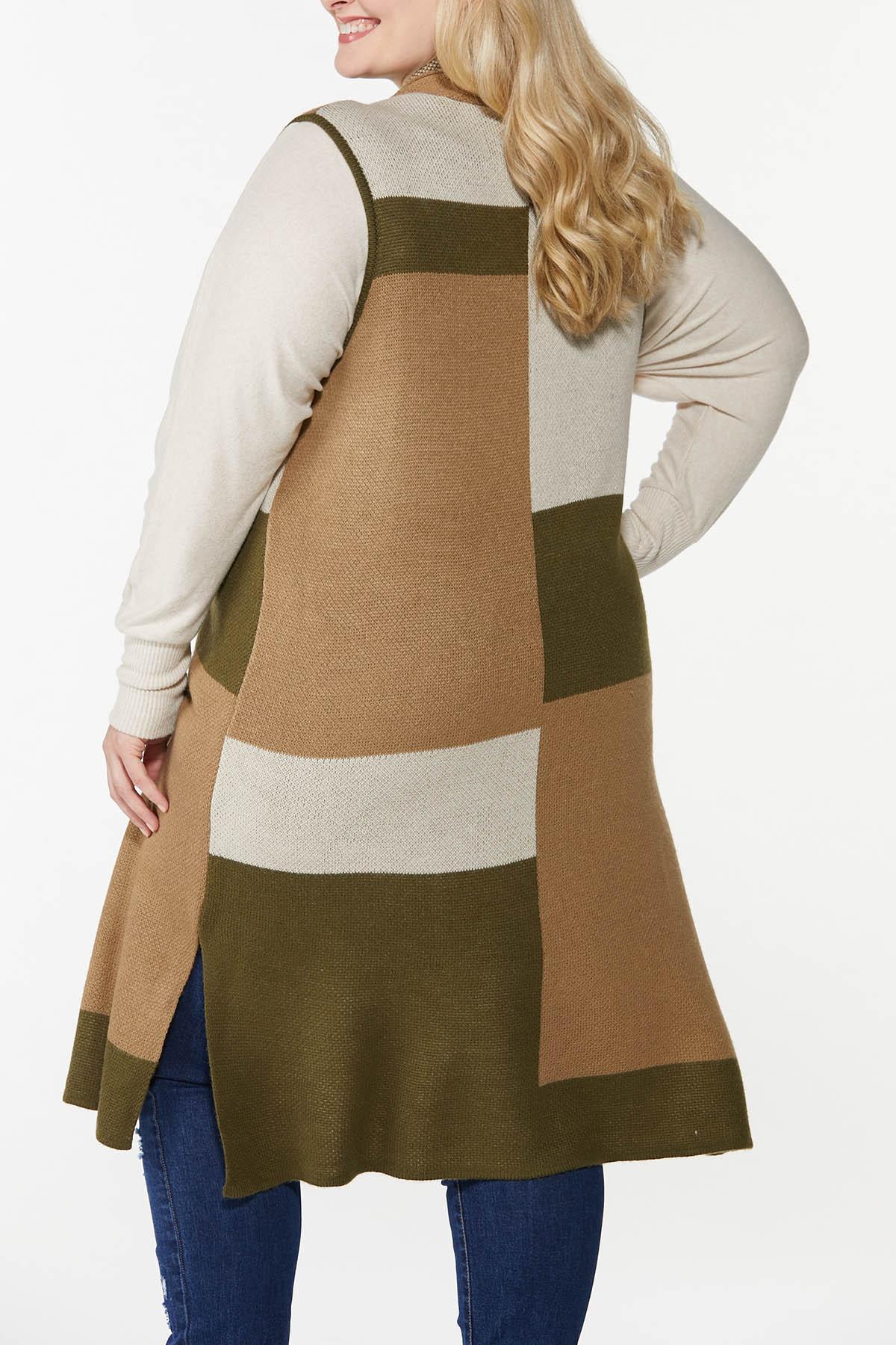 Plus Size Colorblock Sleeveless Sweater (Item #44741902)