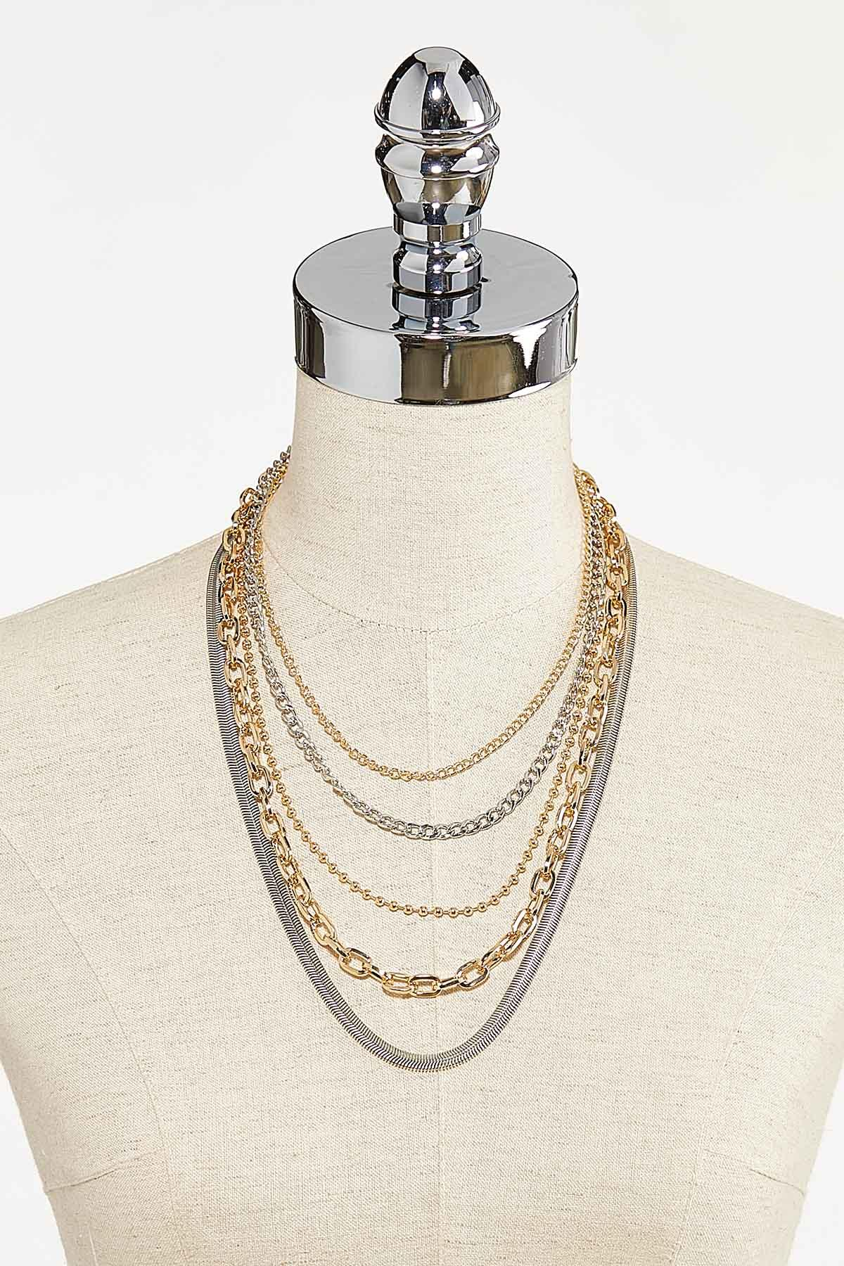 Layered Two-Toned Chain Necklace (Item #44742078)