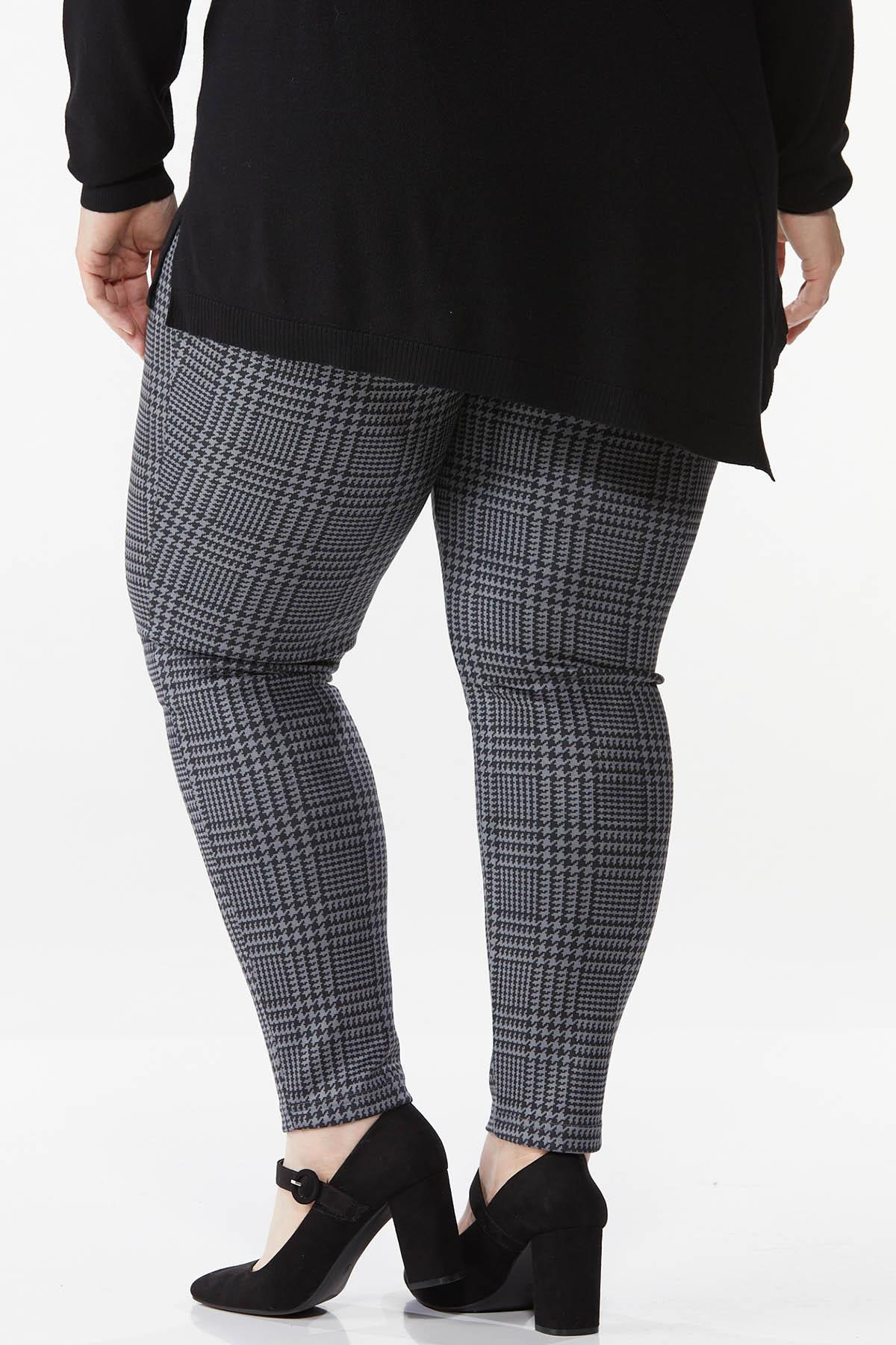 Plus Size Faux Suede Houndstooth Leggings (Item #44744390)
