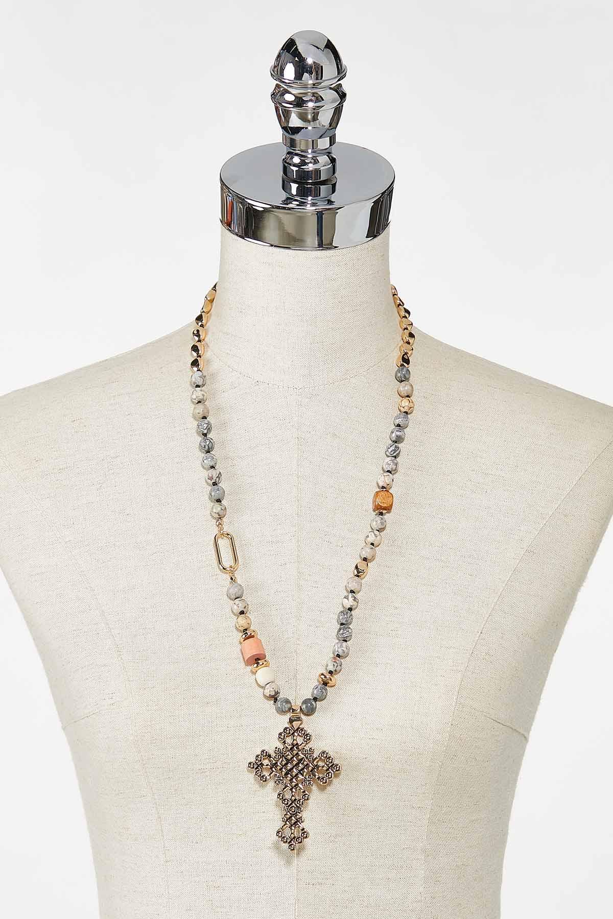 Beaded Cross Pendant Necklace (Item #44745424)