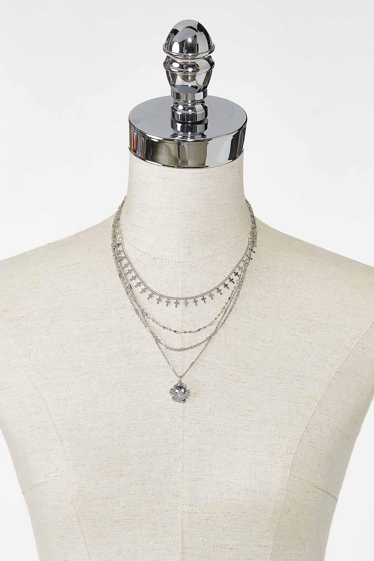 Layered Cross Flower Necklace (Item #44745503)
