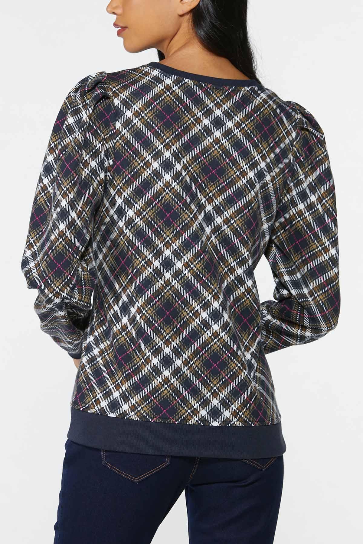 Plaid Puff Sleeve Sweatshirt (Item #44745602)