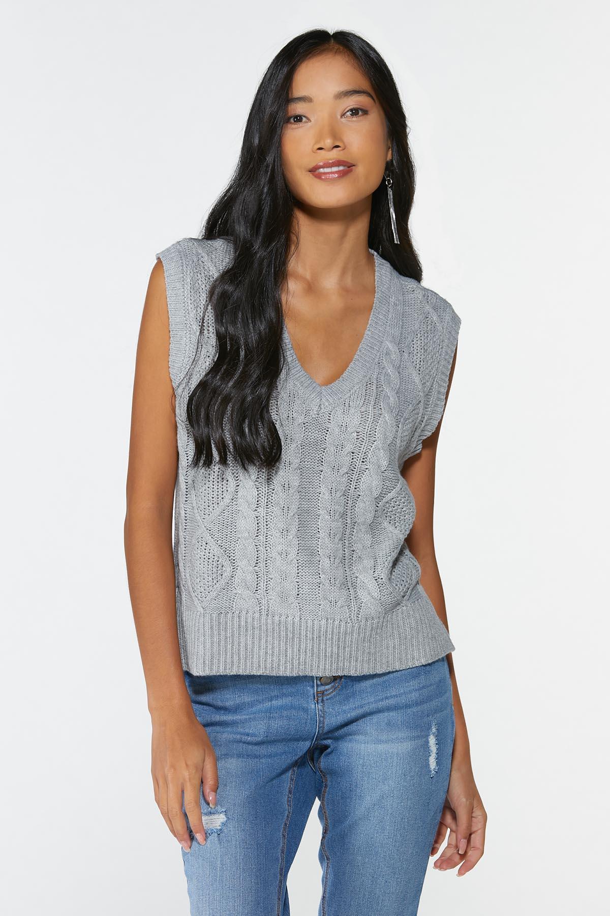 Plus Size Cable Knit Sweater Vest (Item #44745806)