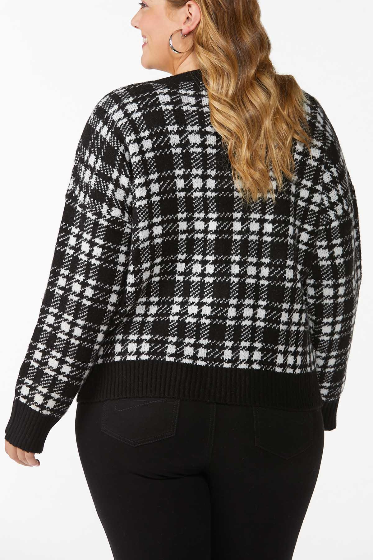 Plus Size Houndstooth Cardigan Sweater (Item #44745958)