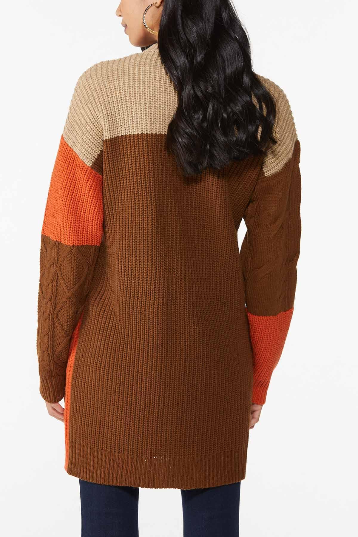 Plus Size Autumn Colorblock Cardigan Sweater (Item #44746056)