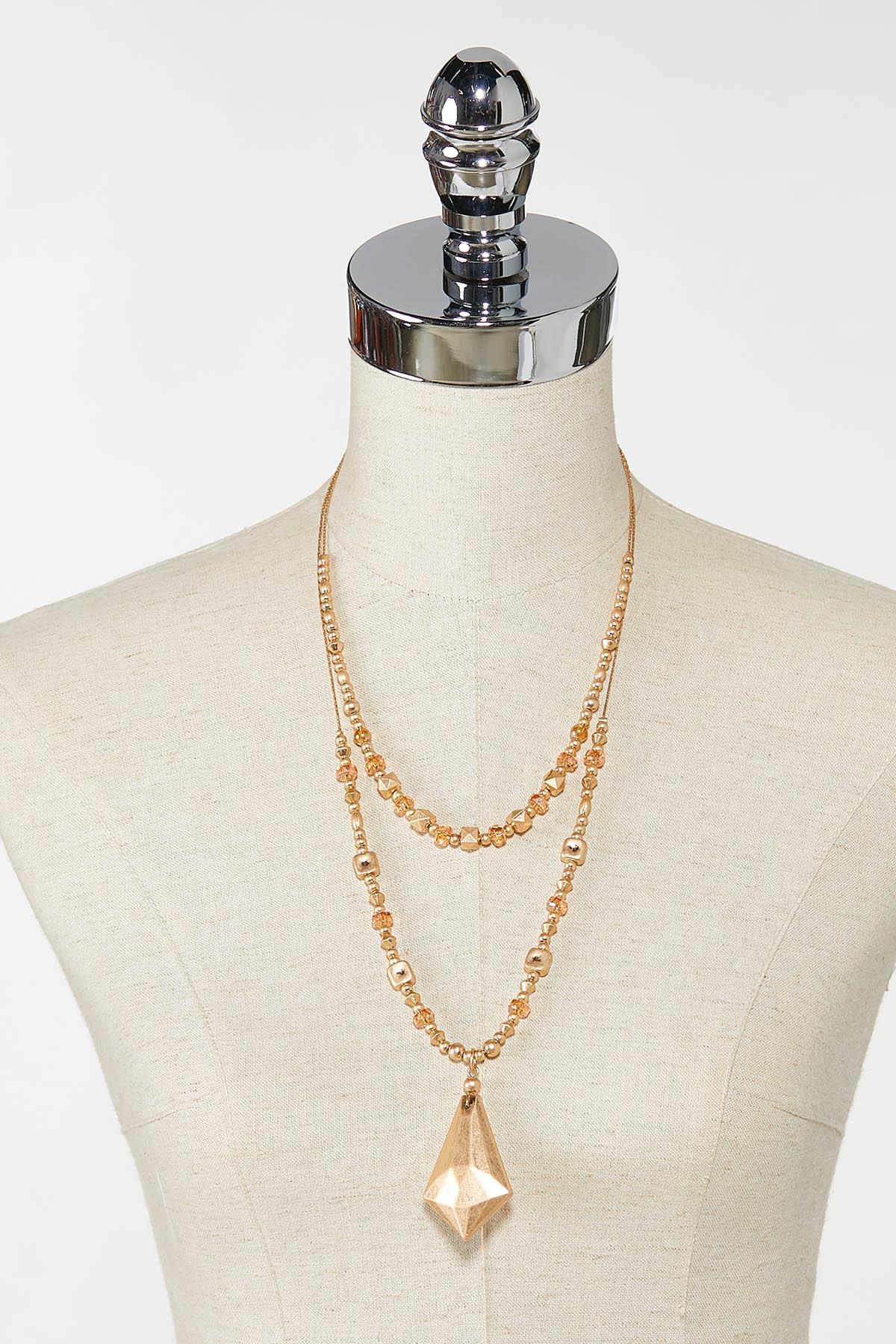 Faceted Metal Pendant Necklace (Item #44746283)