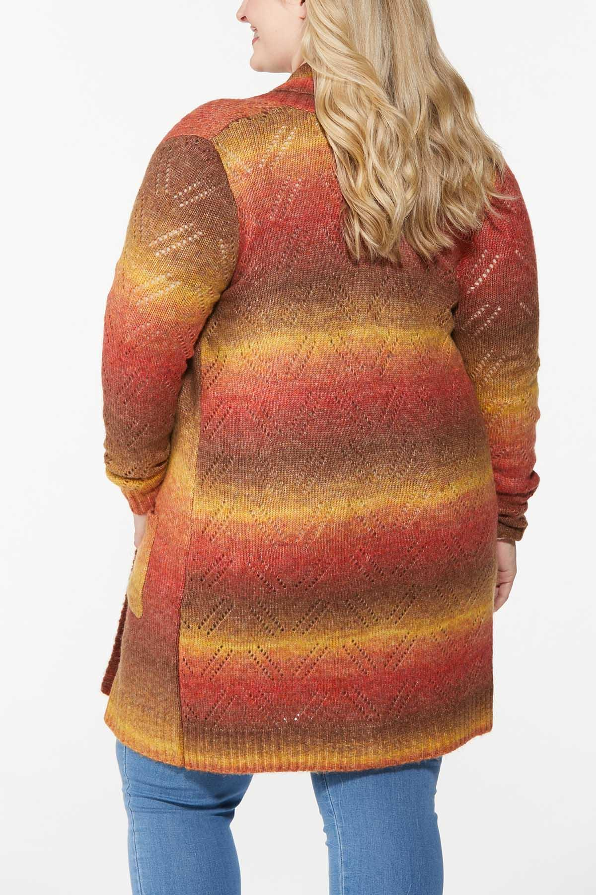 Plus Size Fall Sunrise Pointelle Cardigan (Item #44746587)