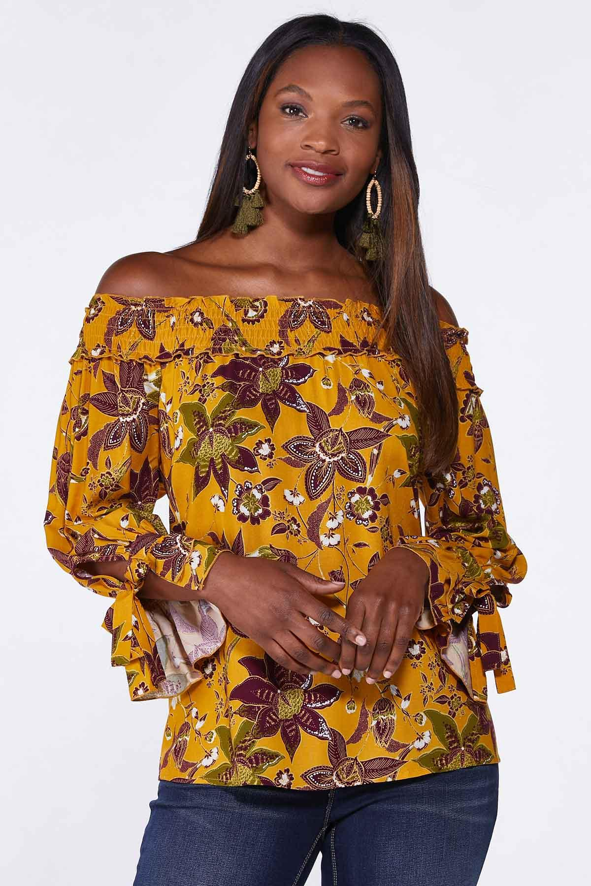 Plus Size Golden Floral Poet Top (Item #44747923)