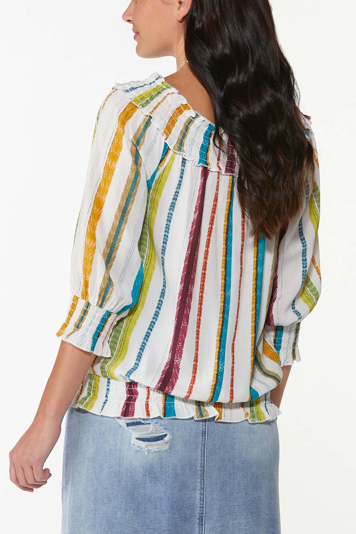Plus Size Smocked Multi Stripe Top (Item #44749855)