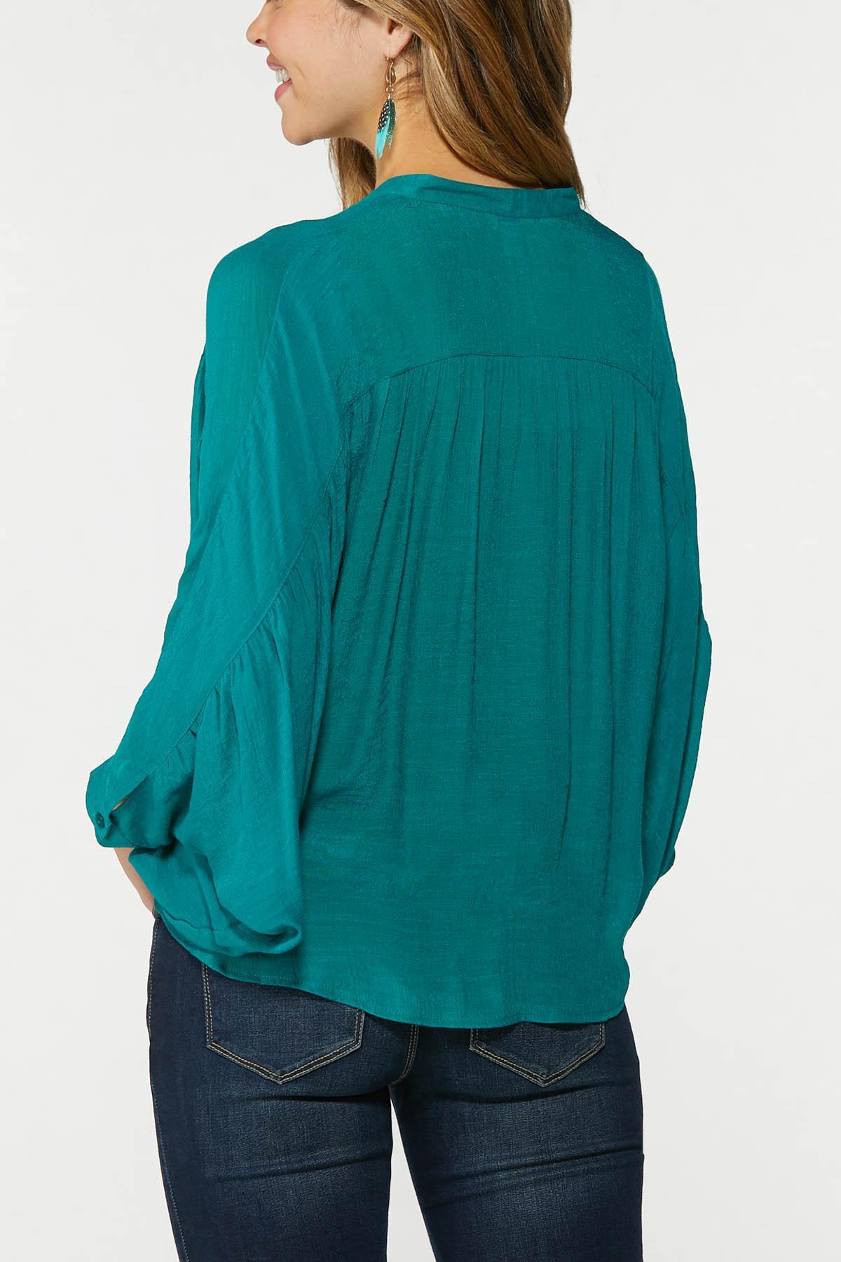 Plus Size Teal Dolman Sleeve Top (Item #44749981)