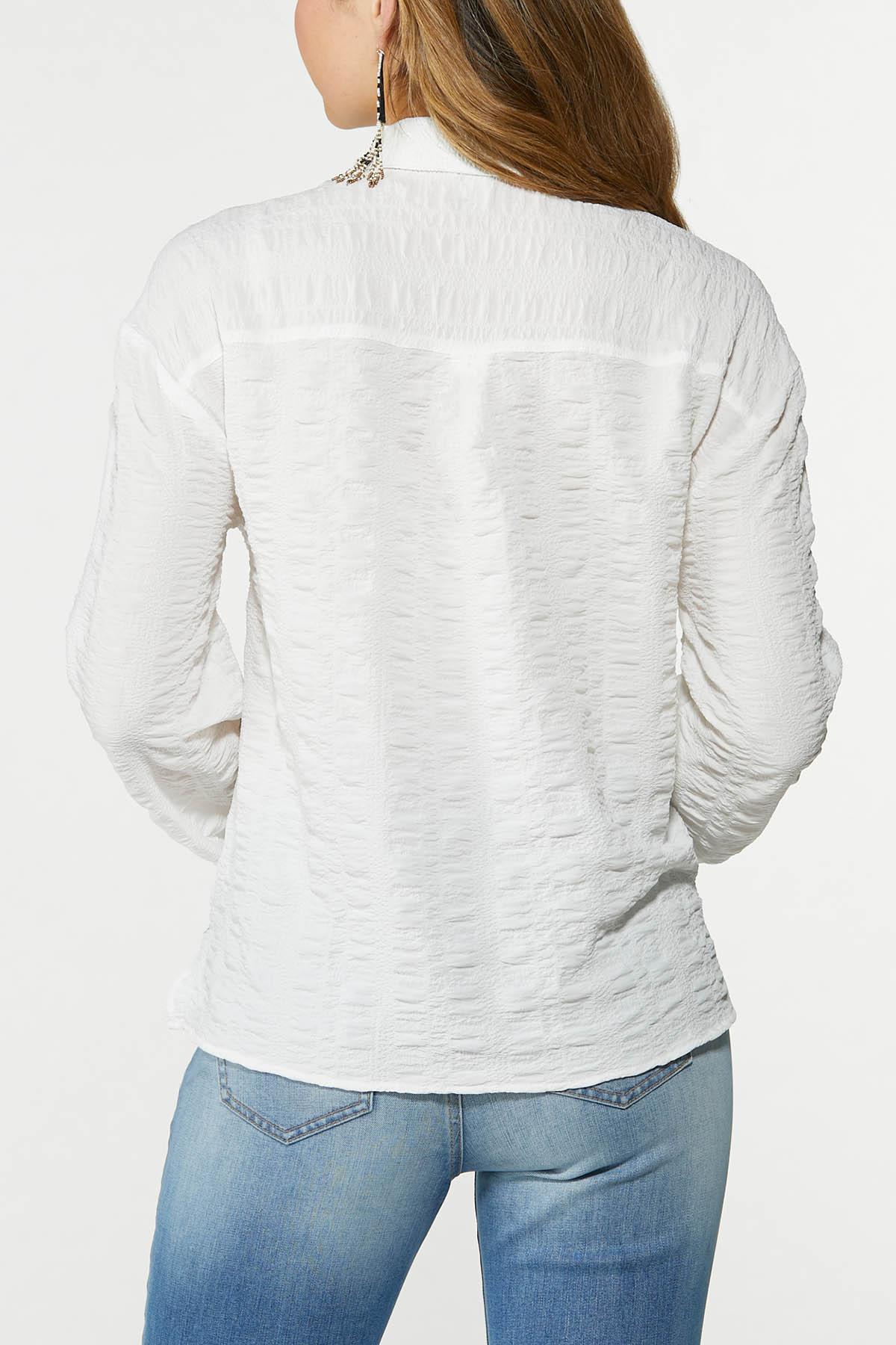Plus Size Textured Collared Shirt (Item #44749989)