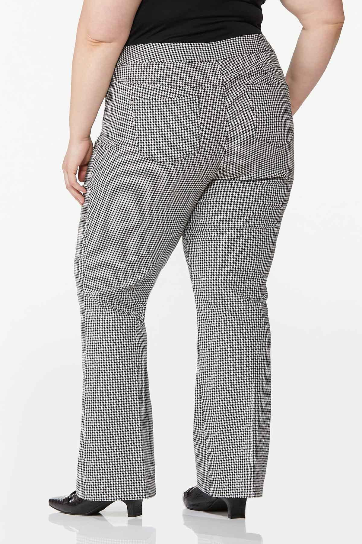 Plus Size Houndstooth Pull-On Pants (Item #44756694)