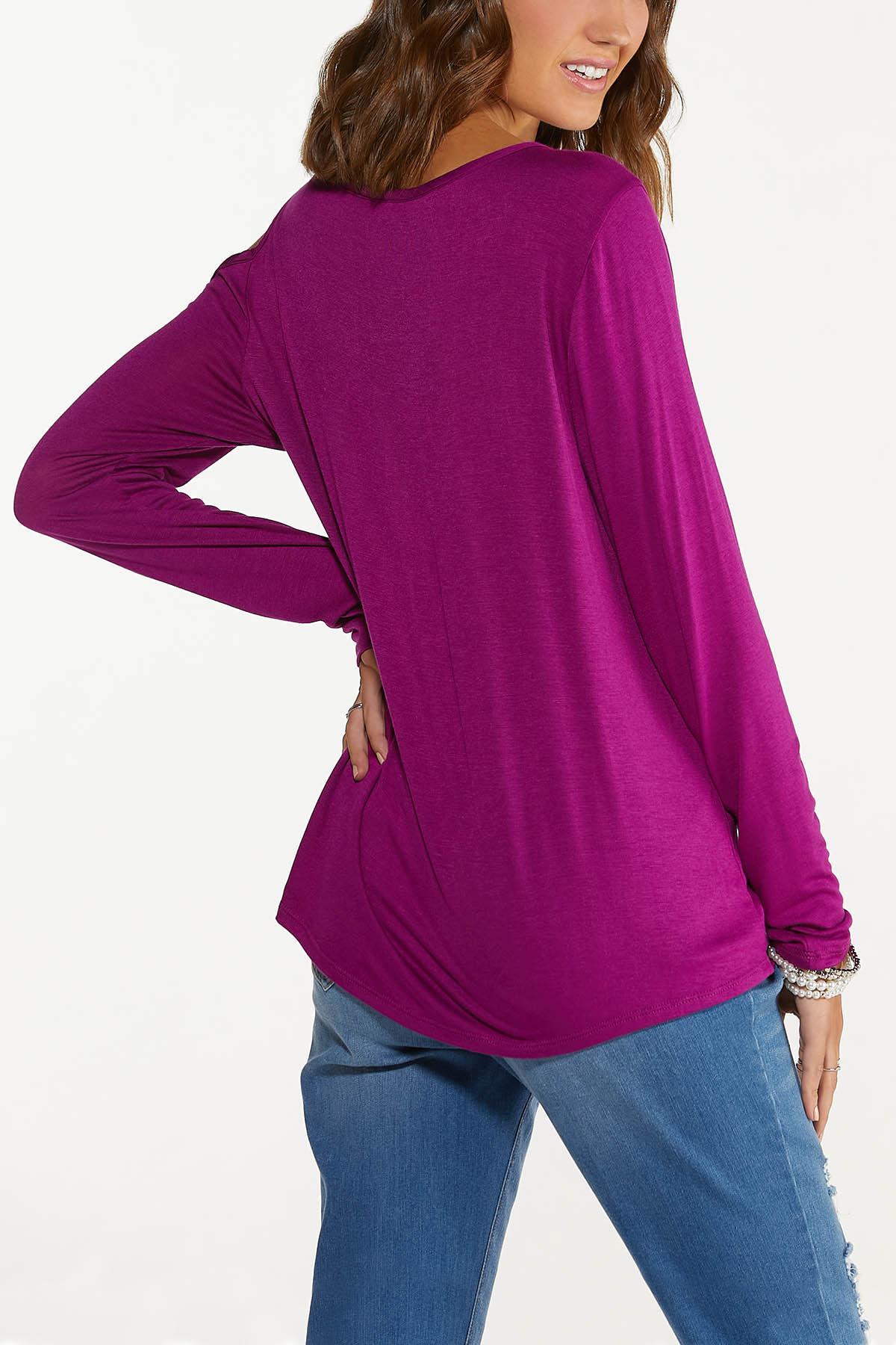 Plus Size Cutout Cold Shoulder Top (Item #44757735)
