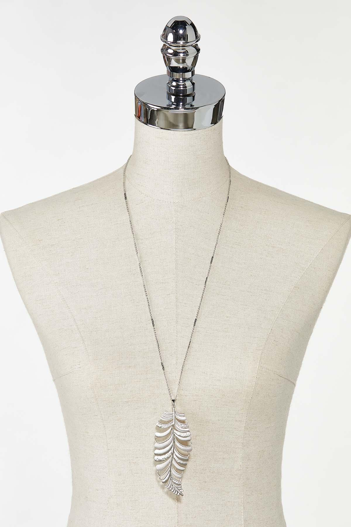 Textured Leaf Pendant Necklace (Item #44759334)