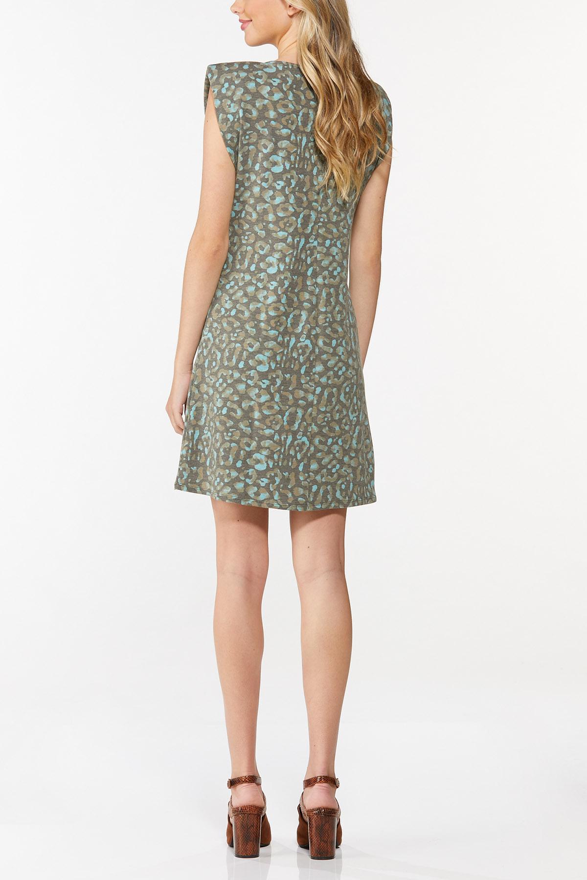 Leopard Padded Shoulder Dress (Item #44765056)