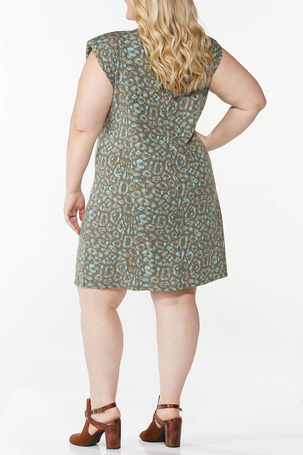 Plus Size Leopard Padded Shoulder Dress (Item #44765079)