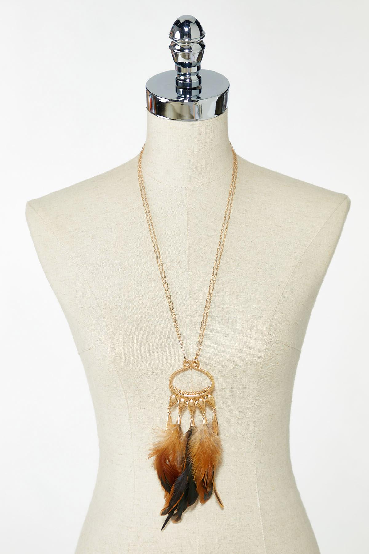 Large Feather Pendant Necklace (Item #44766564)