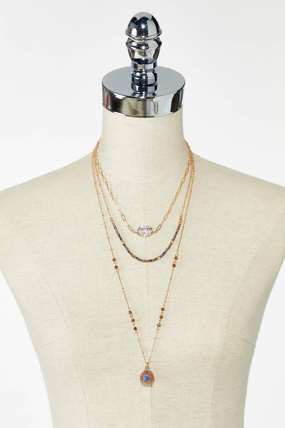 Delicate Evil Eye Layered Necklace (Item #44766566)