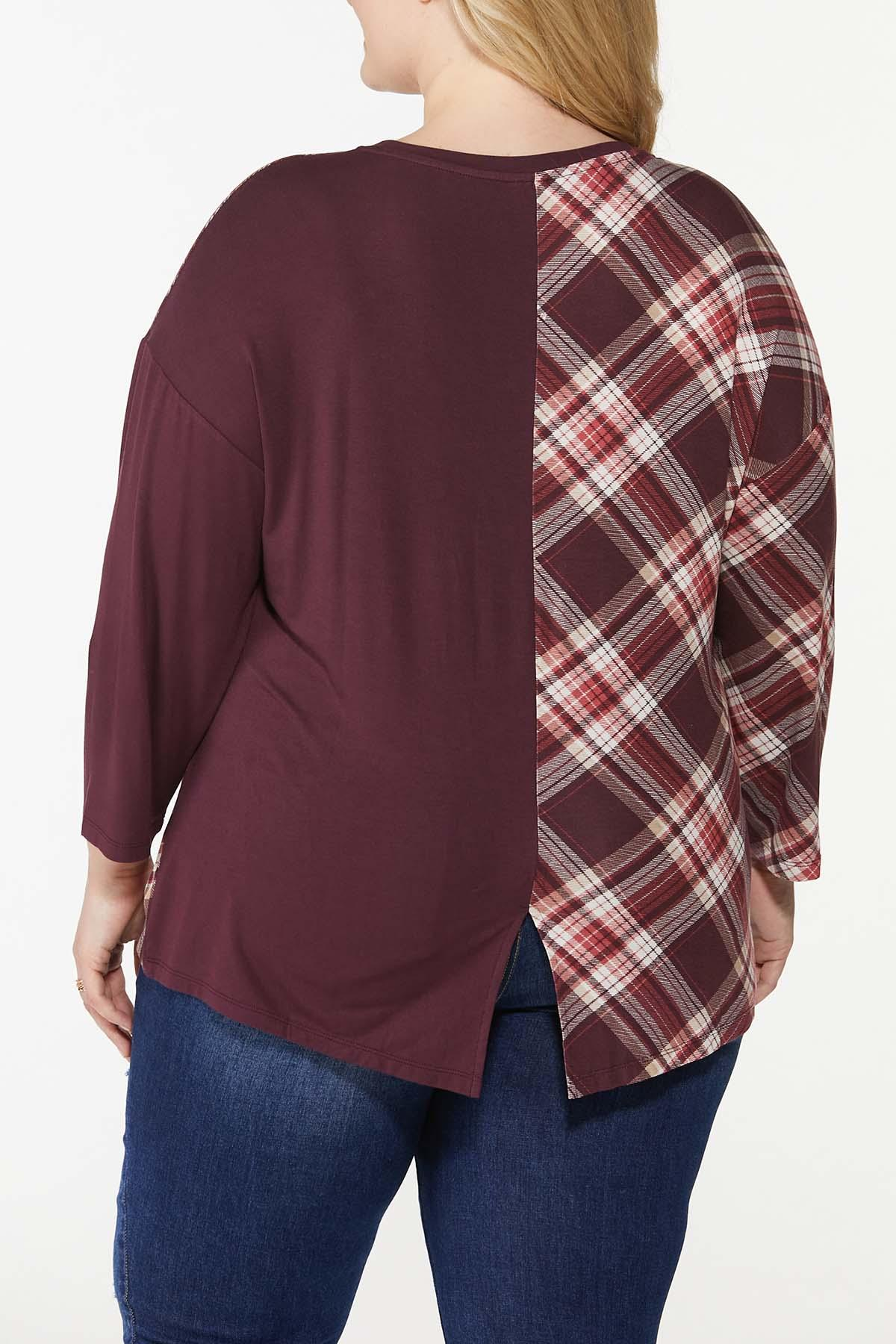Plus Size Twisted Solid Plaid Top (Item #44766953)
