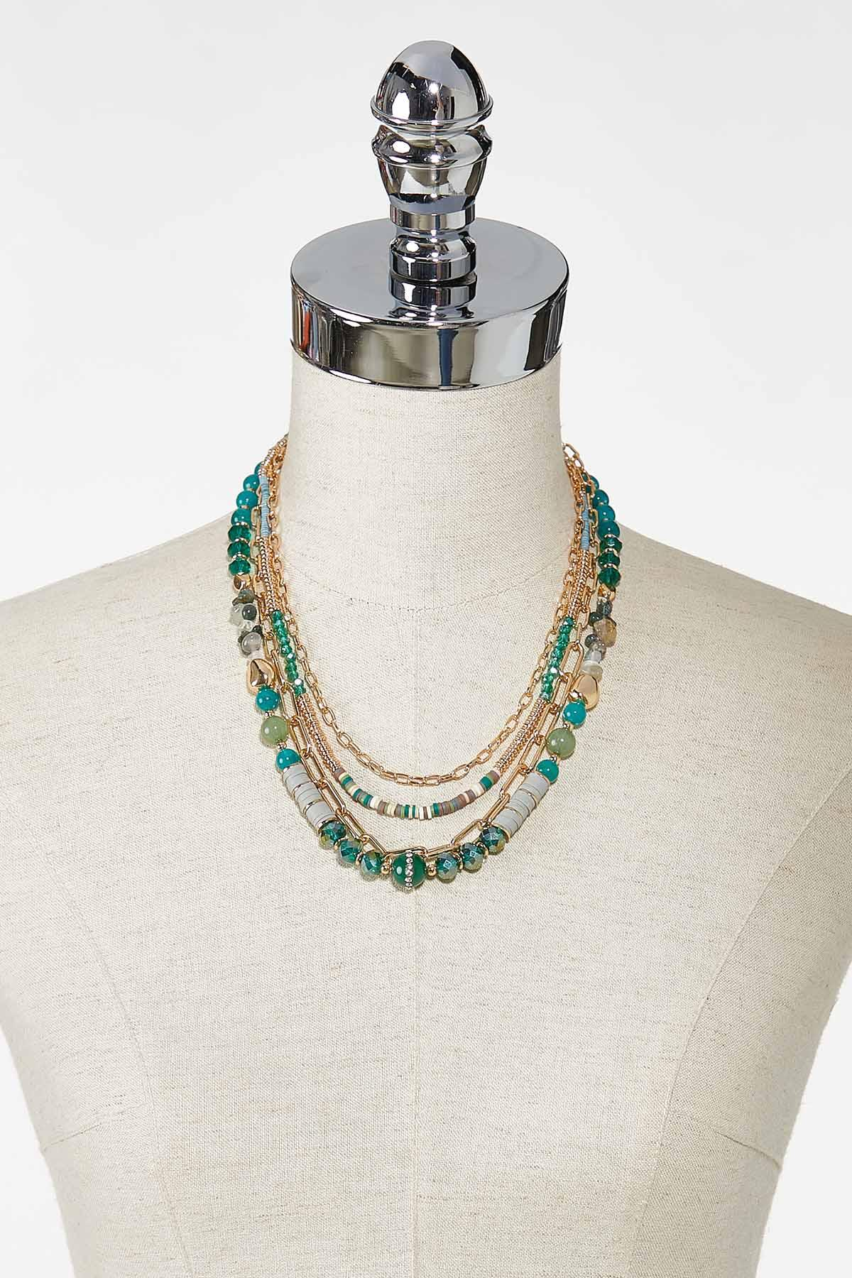 Gold Teal Layered Necklace (Item #44769296)