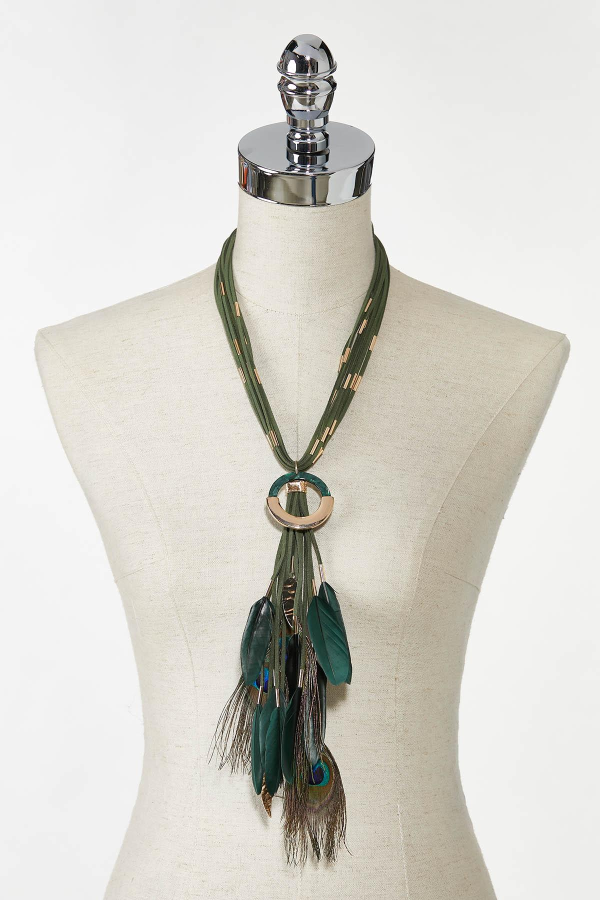 Peacock Feather Cord Necklace (Item #44769706)