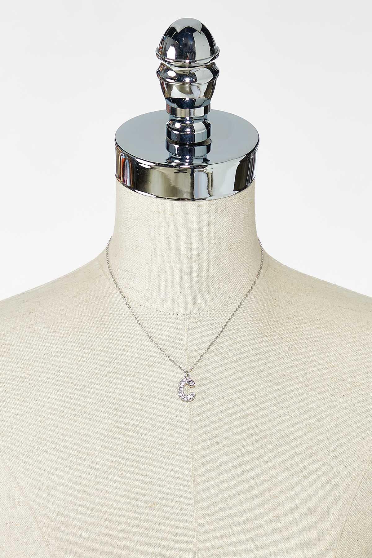 Rhinestone C Pendant Necklace (Item #44770188)