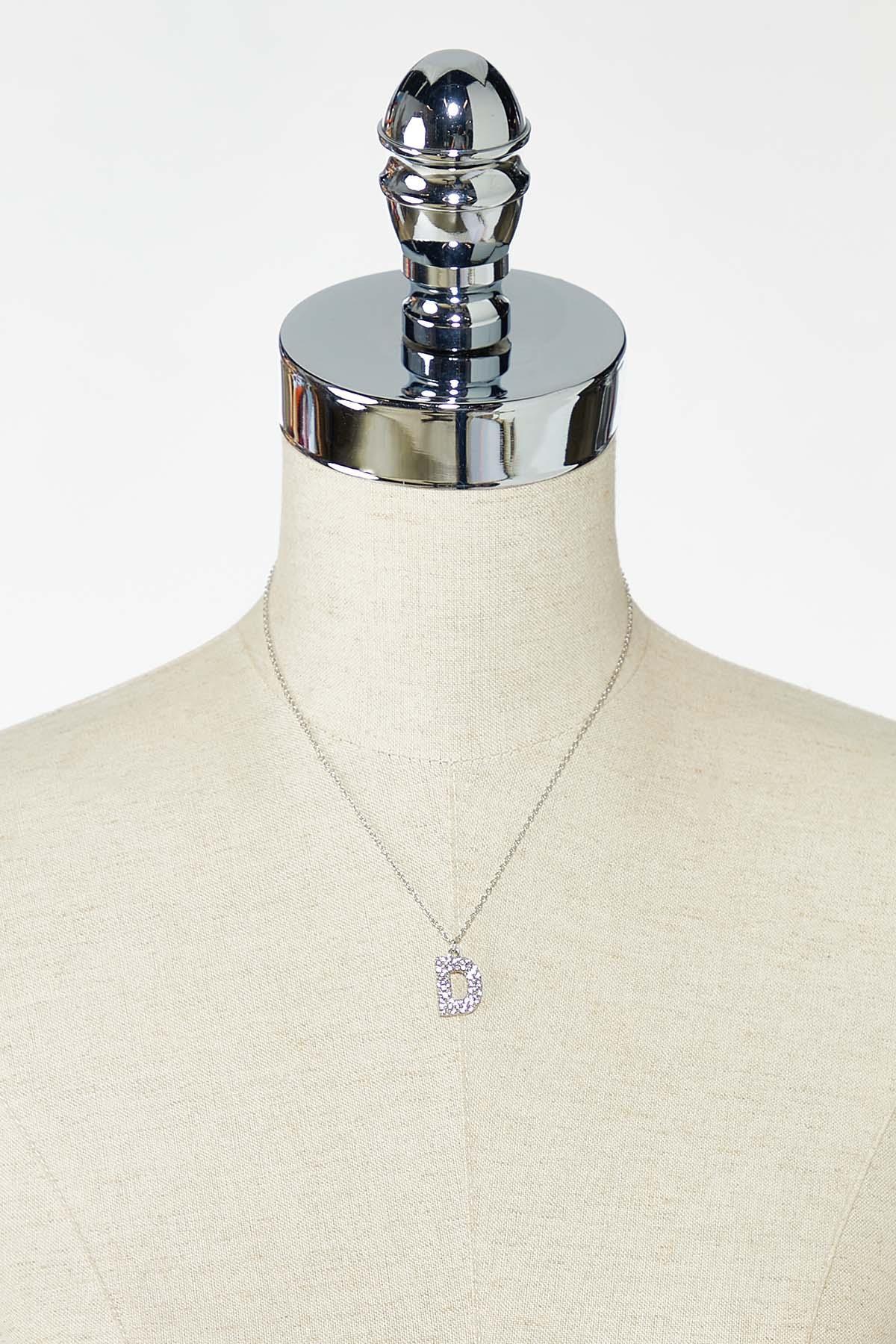 Rhinestone D Pendant Necklace (Item #44770201)