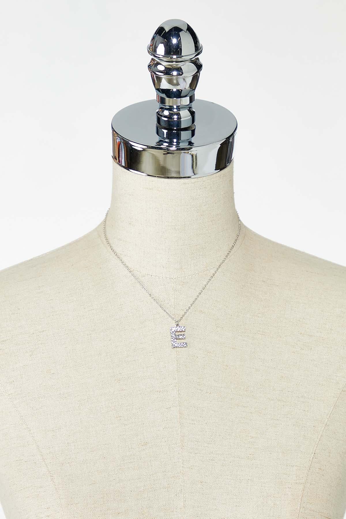 Rhinestone E Pendant Necklace (Item #44770203)