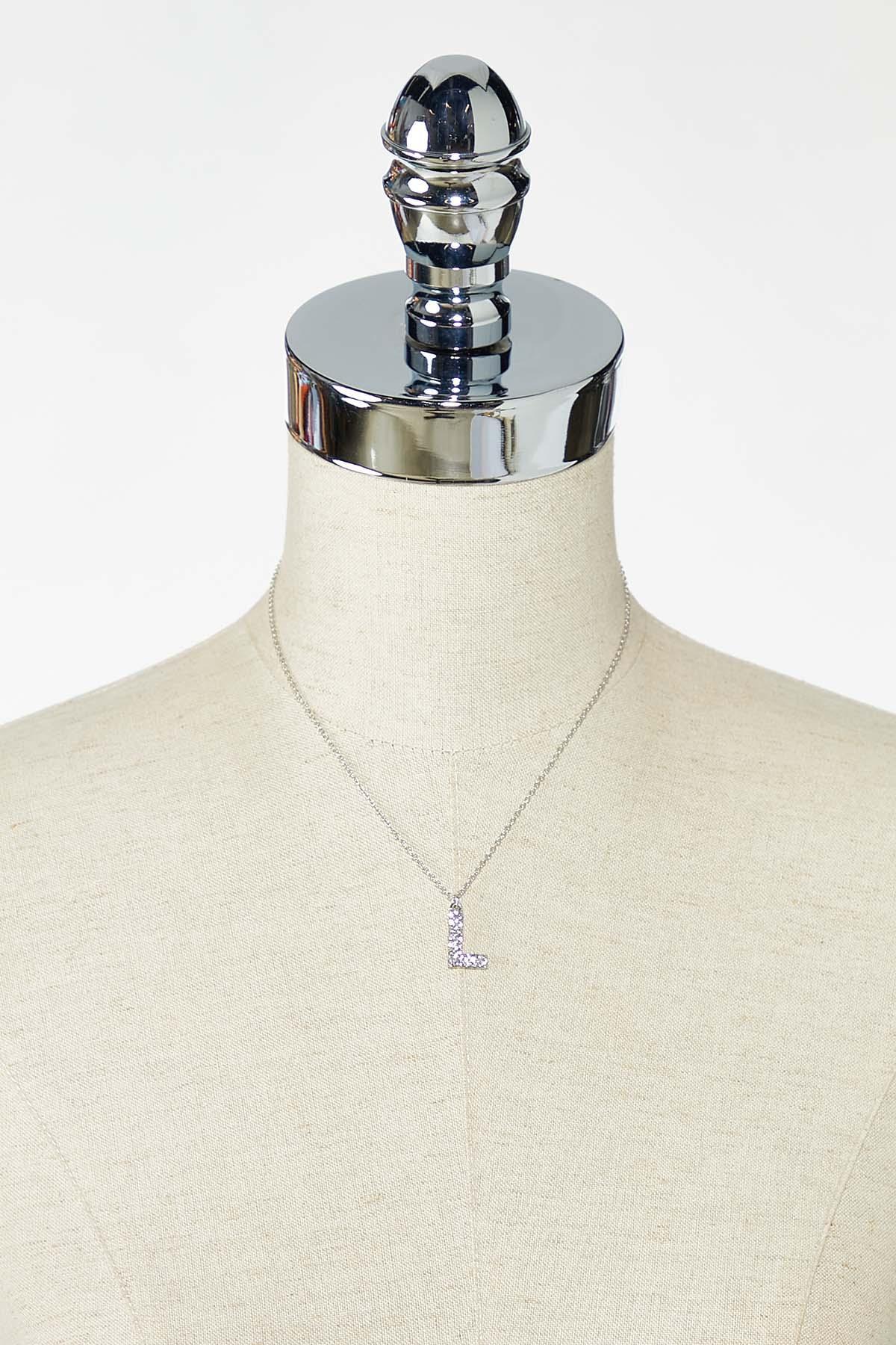Rhinestone L Pendant Necklace (Item #44770215)