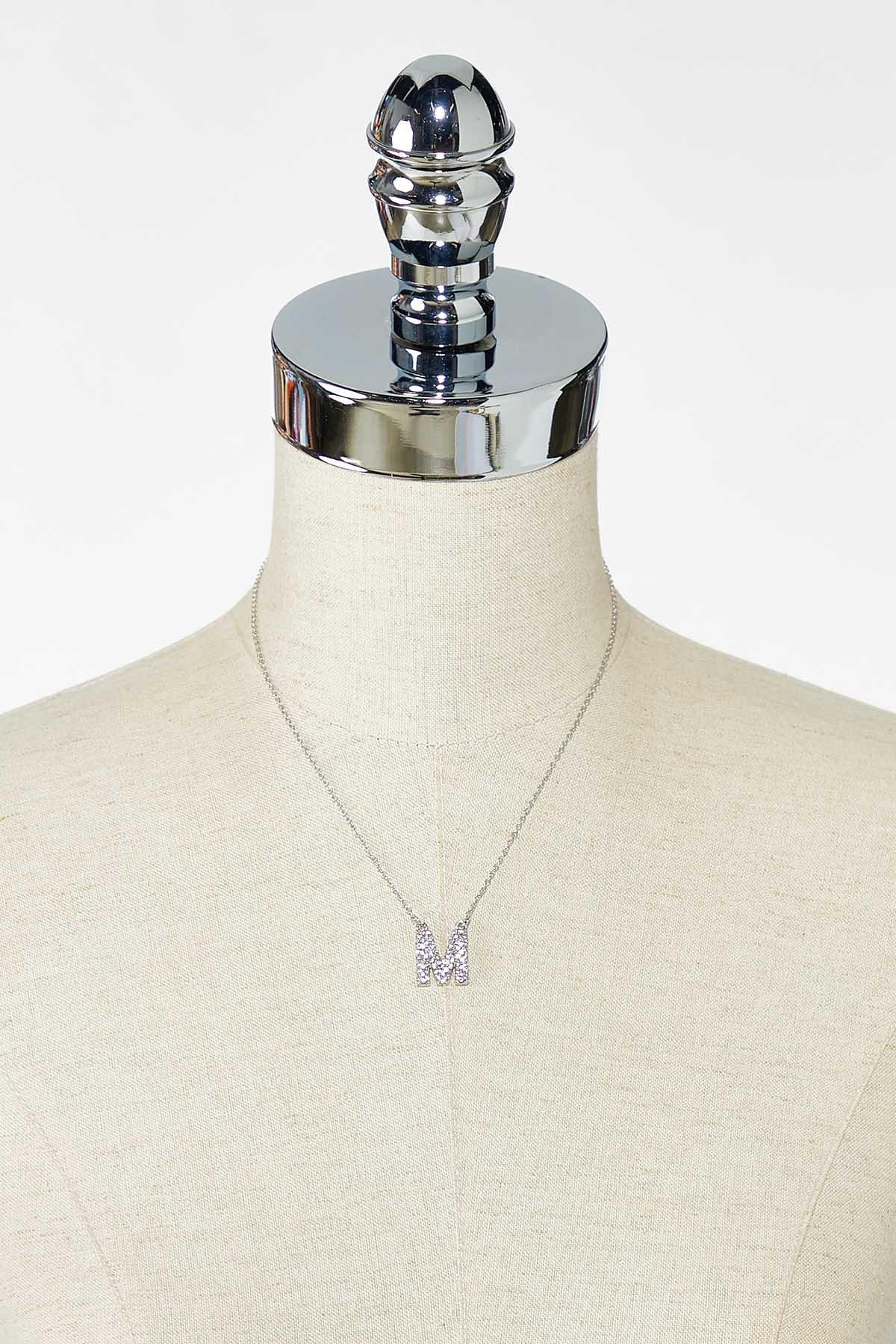 Rhinestone M Pendant Necklace (Item #44770217)