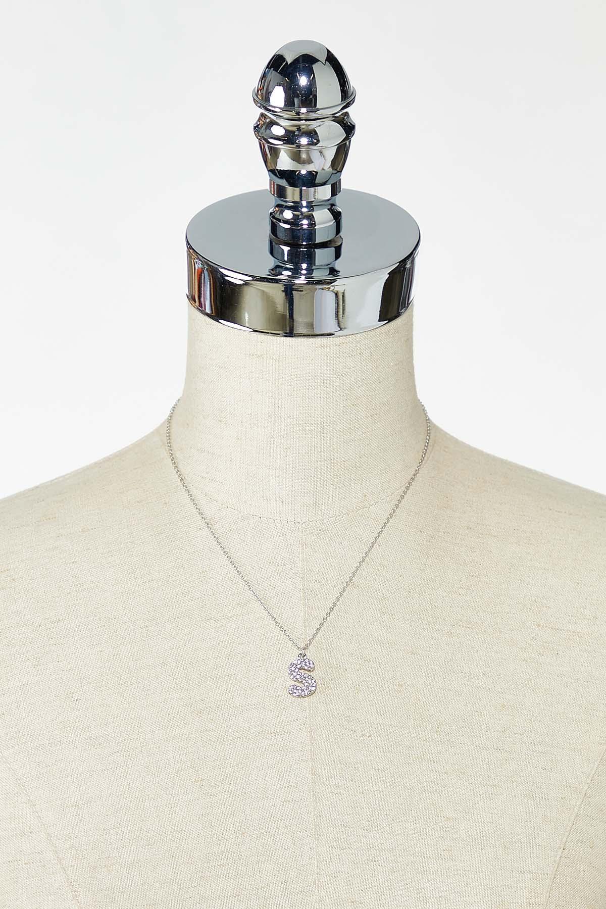 Rhinestone S Pendant Necklace (Item #44770220)
