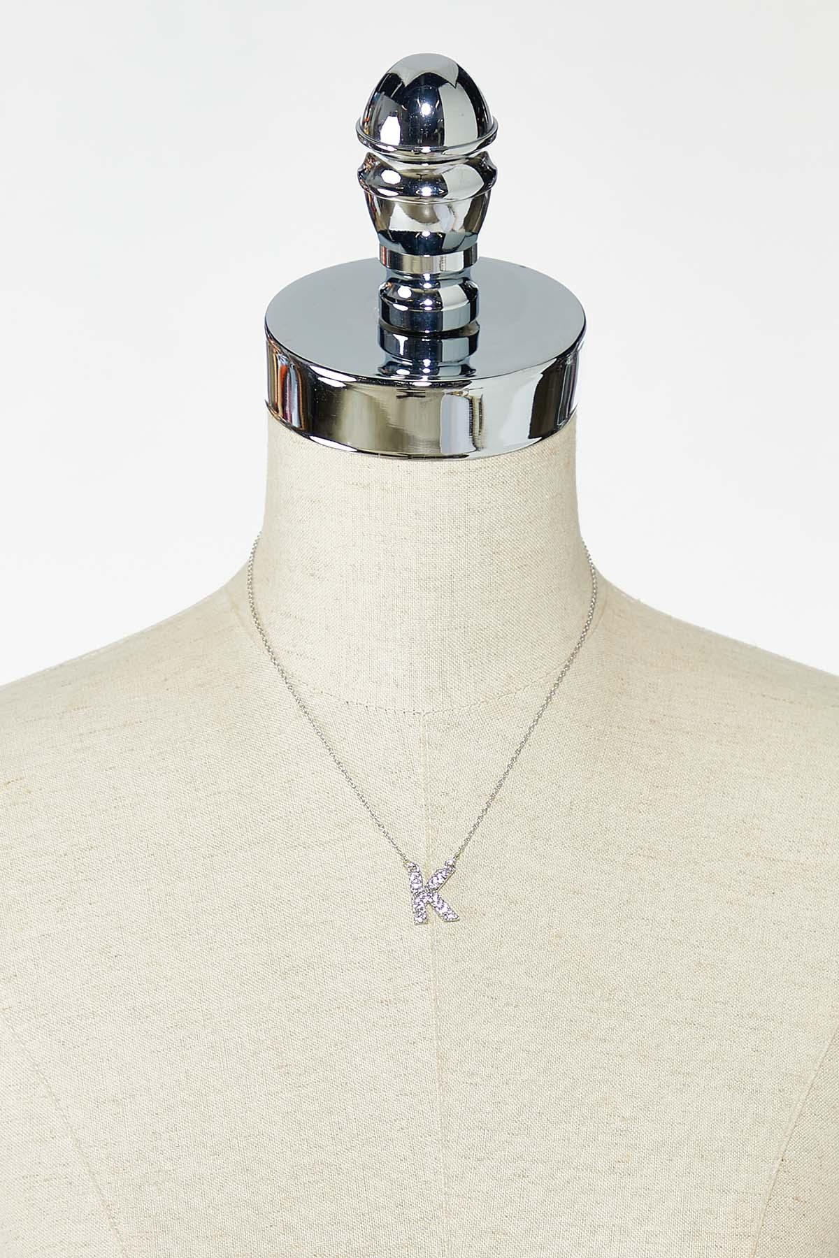 Rhinestone K Pendant Necklace (Item #44770222)
