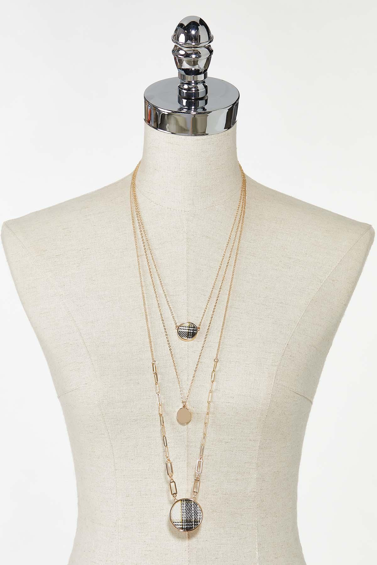 Layered Plaid Disc Necklace (Item #44770852)