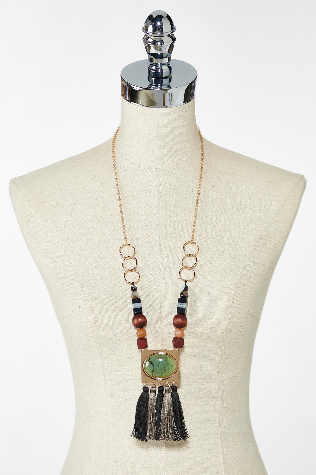 Tasseled Wooden Bead Necklace (Item #44770910)