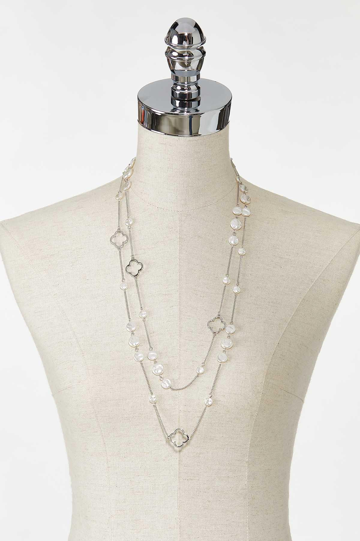 Layered Clover Pearl Necklace (Item #44771332)