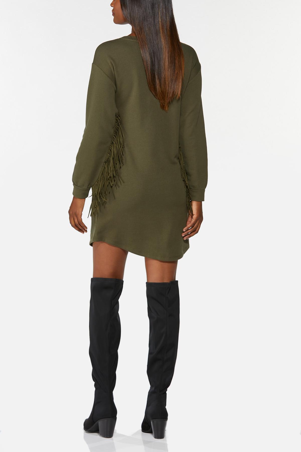Plus Size Fringe Trim Shift Dress (Item #44771993)