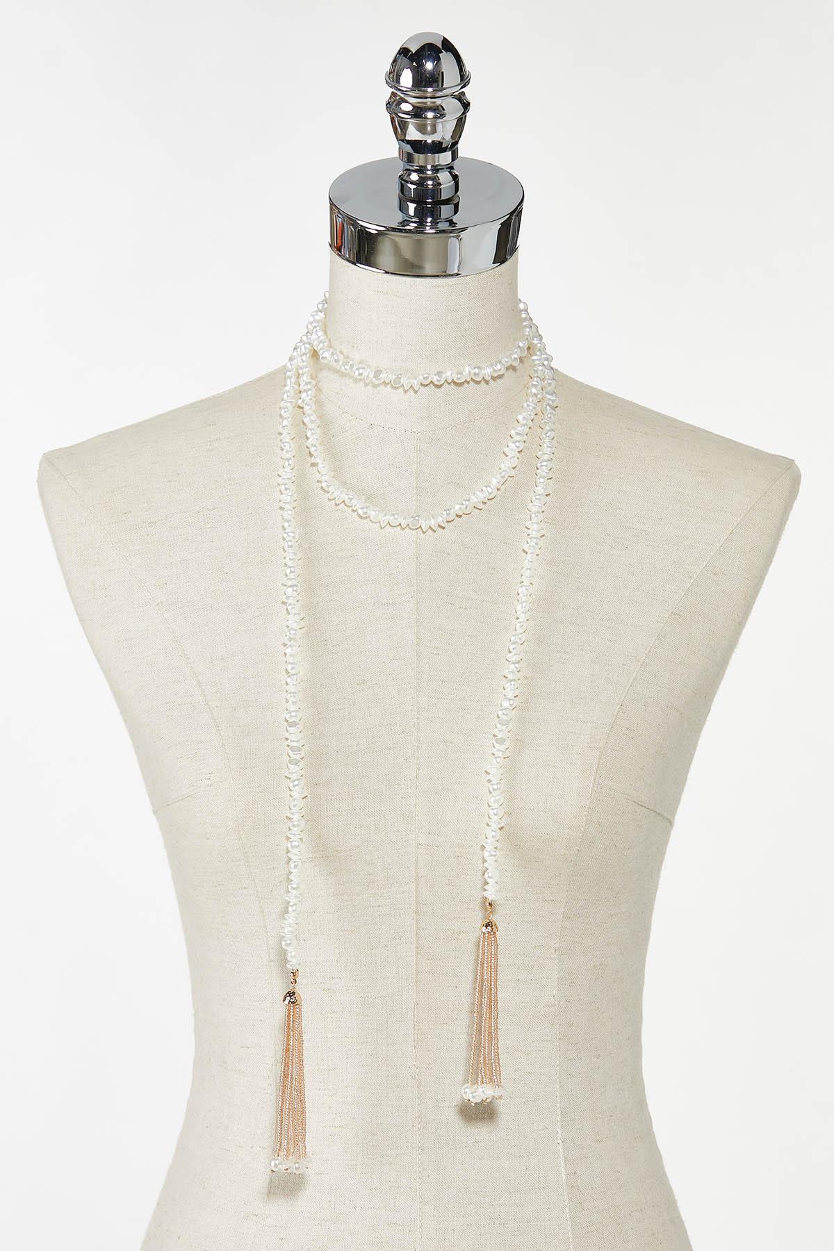 Gold Pearl Tassel Necklace (Item #44773738)